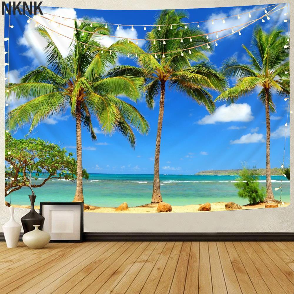 Брендовые красивые гобелены NKNK, пляжные гобелены, Кокосовая стандартная настенная декорация, домашние гобелены, настенные гобелены с рисун...