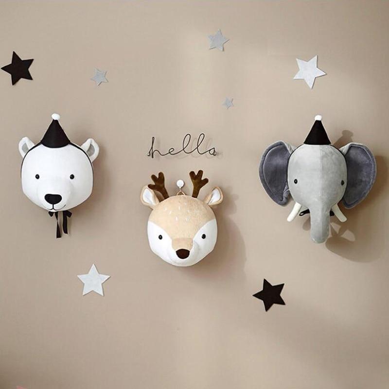 Animal bebé niño decoración de la habitación arte de la pared decoración del hogar felpa ciervo unicornio cabeza montaje de pared para cuarto de niños invitado cabaña de peluche