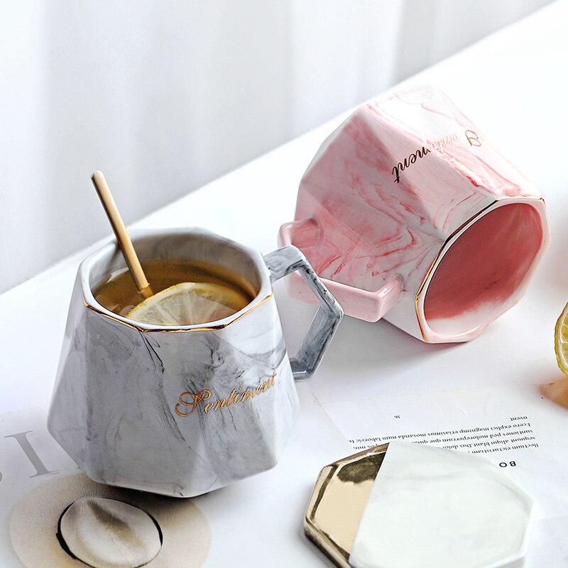 كوب قهوة خزفي ذهبي وردي فاخر السيد والسيدة ، فنجان قهوة رخامي ، هدايا زفاف للأزواج للعشاق ، بورسلين ، حليب ، شاي ، إفطار
