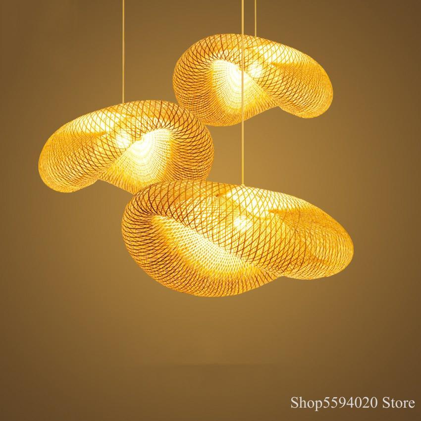 Lámpara colgante de madera LED de estilo chino, accesorios de lámpara de bambú, lámparas colgantes Led, iluminación de interior, luminaria colgante Suspendu