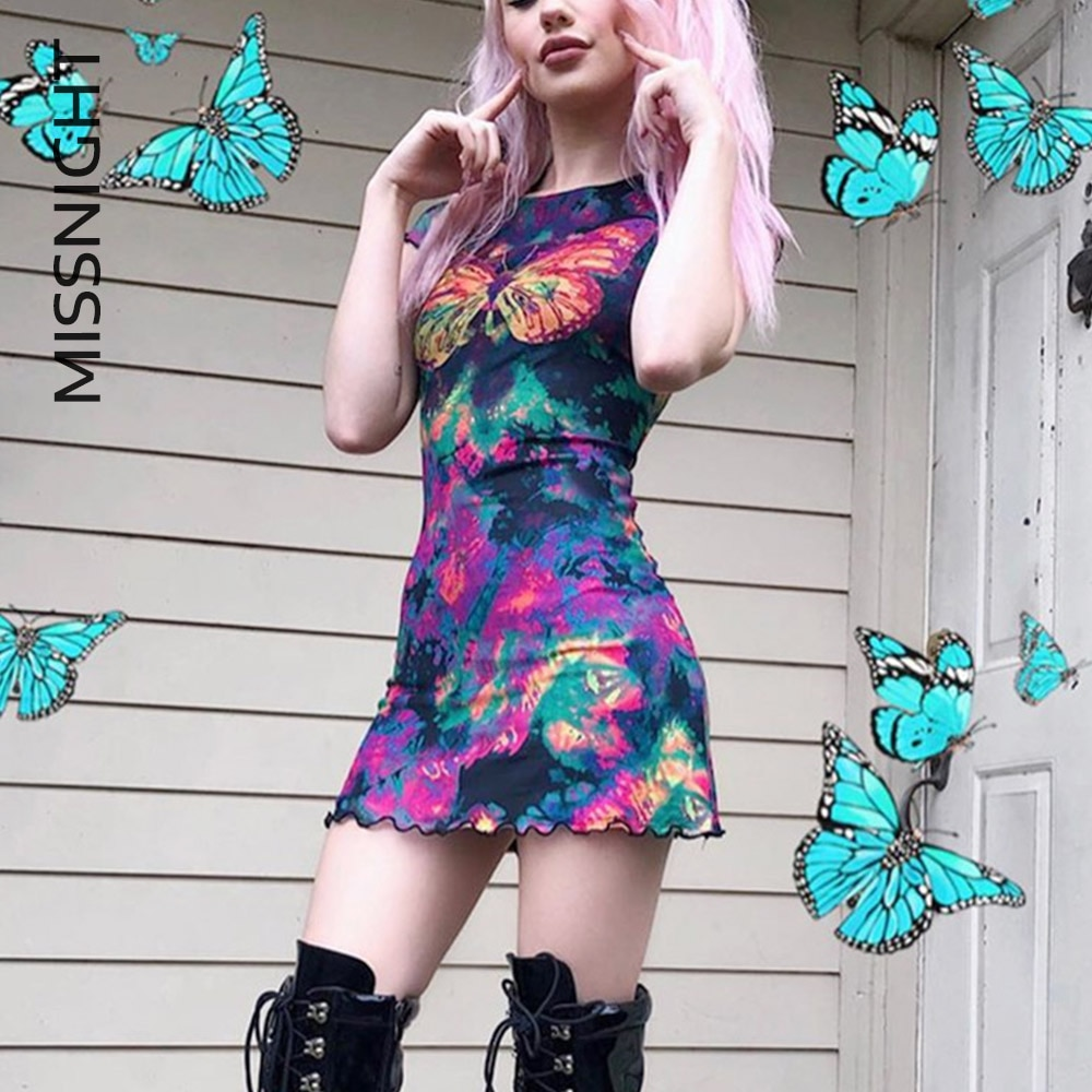 Missnight camiseta de malla de mariposa vestido de mujer elegante e-girl Punk colorido manga corta Mini Y2k vestido Bodycon Streetwear otoño