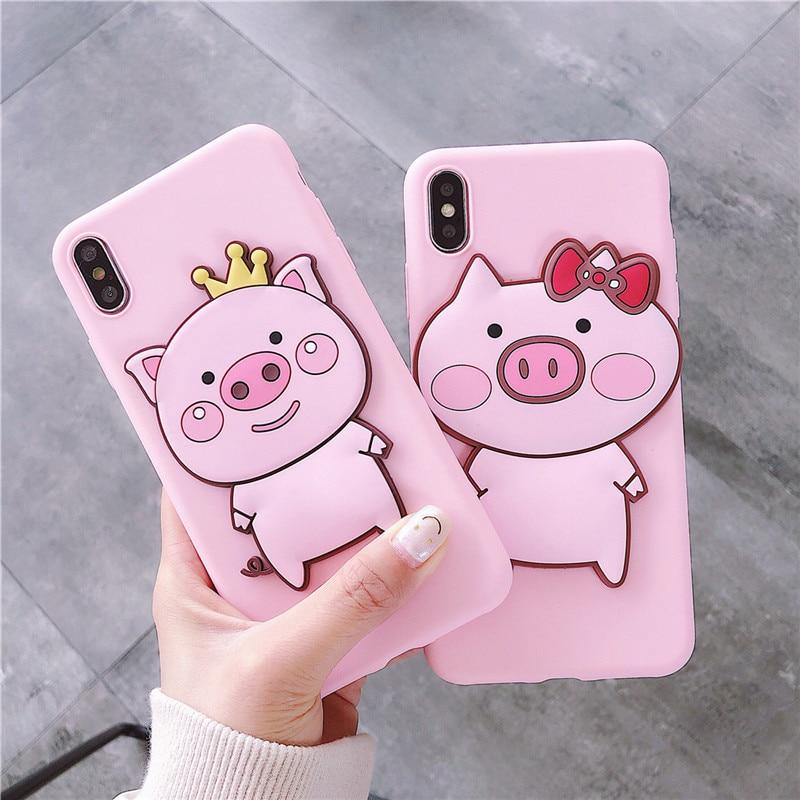 Cartoon 3D pig Couple Phone Case For Samsung Galaxy A50 A10E A20S A30S A40 A70 A80 A90 5G A6 A7 A8 A9 A51 A81 A91 A71 Cover case