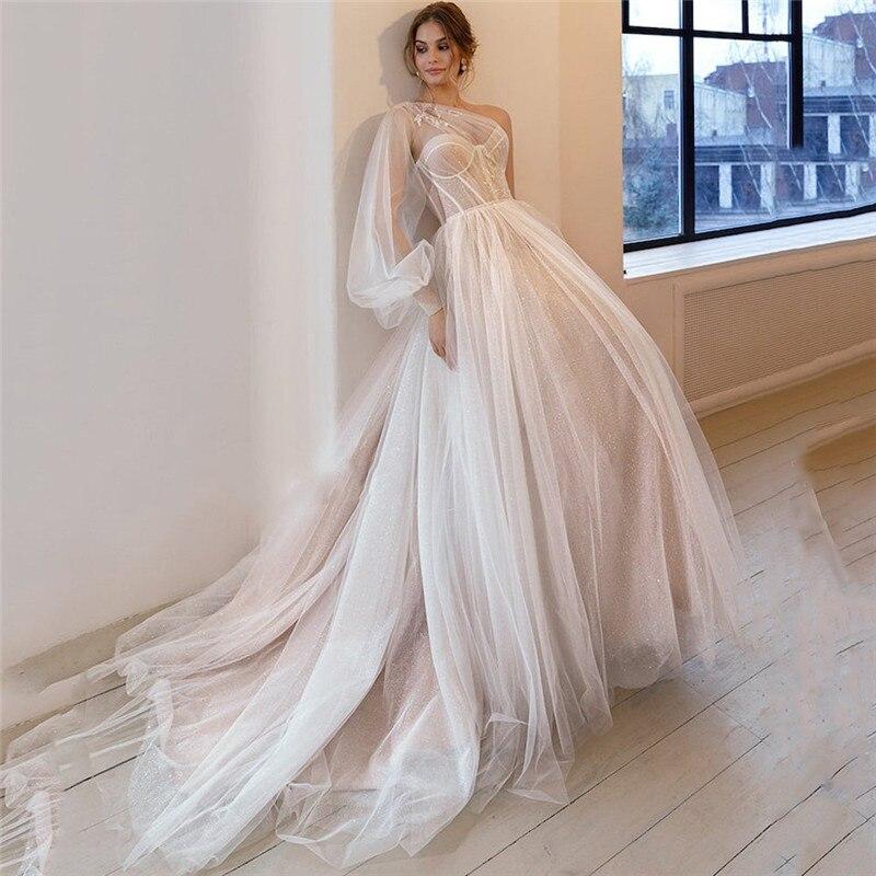 فستان زفاف عتيق من الدانتيل ، غير متماثل ، كتف مكشوف ، أكمام ، فستان زفاف ، مقاس كبير ، مجموعة جديدة 2021