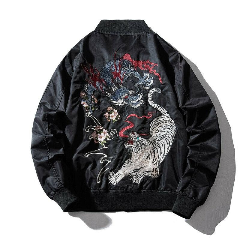 New Janpanese Mens Jacket Coat Embroidery Bomber Dragon Tiger Yokosuka Outwear