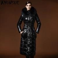ayunsue luxury natural raccoon fur hooded womens winter down jacket female duck down coat woman x long 90 down parkas 2020 lw