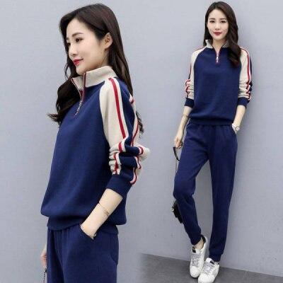 Tenue d'exercice pour femmes, pull à manches longues et pantalon, ensemble deux pièces, col montant, couture, costume décontracté, Style coréen, nouvelle collection automne 2021