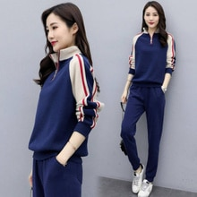 Fall 2021 New Exercise Outfit Women's Long Sleeve Sweater Pants Two-Piece Set Stand Collar Stitching