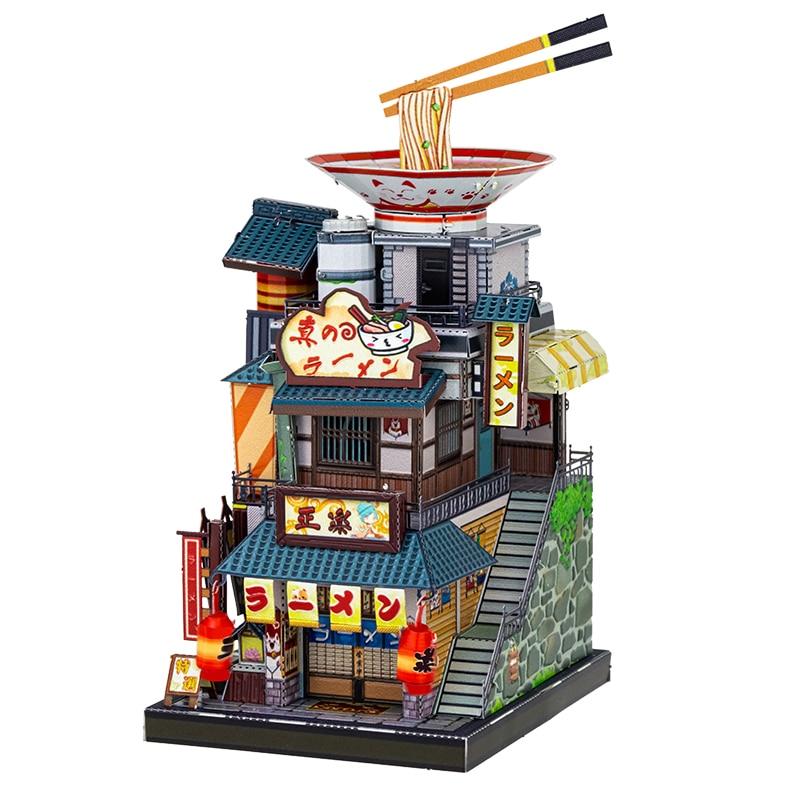 MU-أحجية الصور المقطوعة المعدنية ثلاثية الأبعاد ، نموذج بناء لمتجر المعكرونة الياباني ، هدية للأطفال