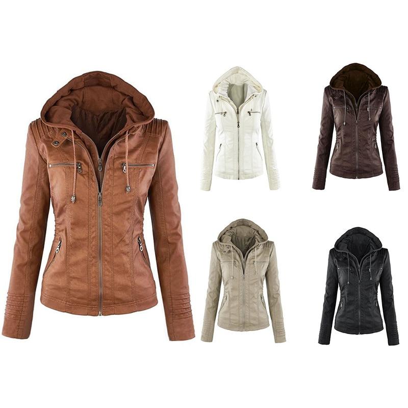 Модные женские кожаные куртки с длинным рукавом, женские короткие кожаные куртки, женские куртки, мотоциклетные куртки, пальто, с капюшоном