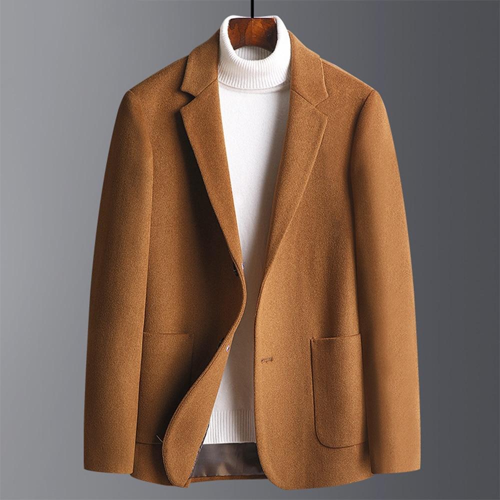 Men's Suit Jackets Solid Thicken Single Breasted Dress Suits Jacket Blazer Men Fashion Casual Blazer Men Wool Jacket Coat
