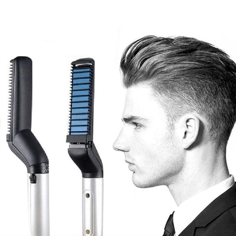 Multifuncional pente de cabelo escova barba cabelo endireitar pente rápido cabelo styler para homem