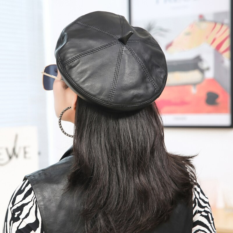 Autumn Multicolor Korean Version Of Beret Real Sheep Leather Octagonal Hat Dome Fashion Warm Basin H