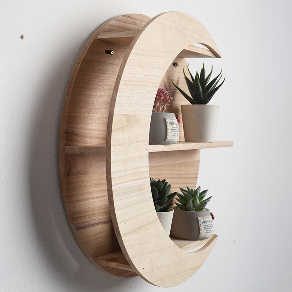 Wooden Moon Shape Storage Rack Holder Wall Mounted Decor Living Bed Room Decorative Shelves Home Crafts