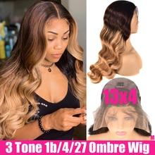 Perruque Lace Front Wig Body Wave naturelle Remy   Cheveux humains brésiliens, blond miel ombré, 13x4, sans colle, pour femmes africaines