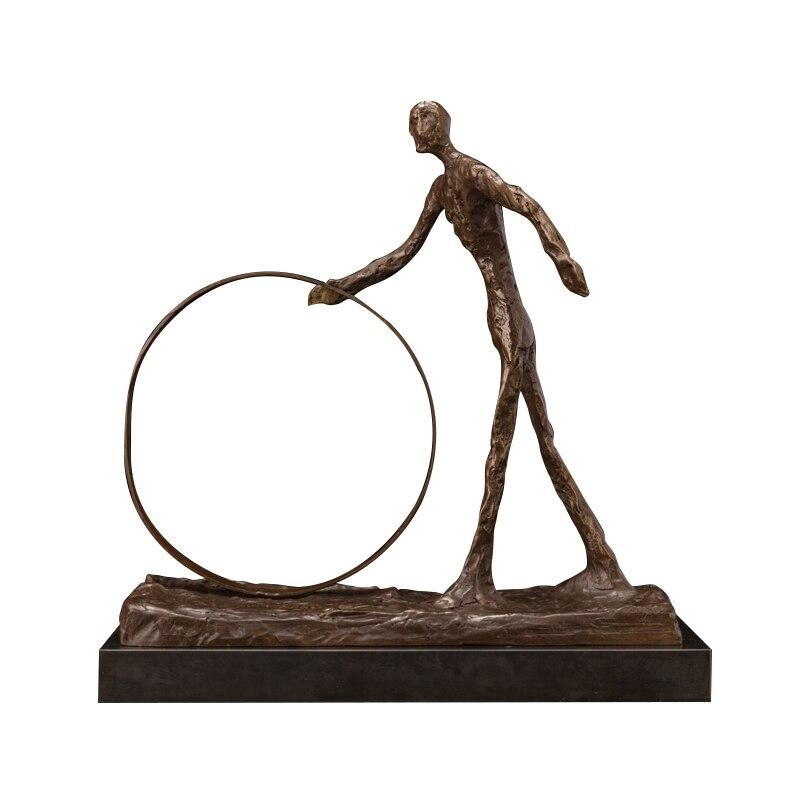 ¡Oferta! Escultura de bronce Giacometti, escultura abstracta de hombre con círculo, estatua decorativa