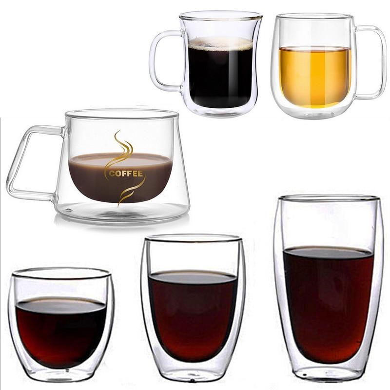 1 taza de café de doble pared de vidrio aislamiento térmico tazón taza de té con mango para bebidas frías calientes aislamiento térmico Oficina