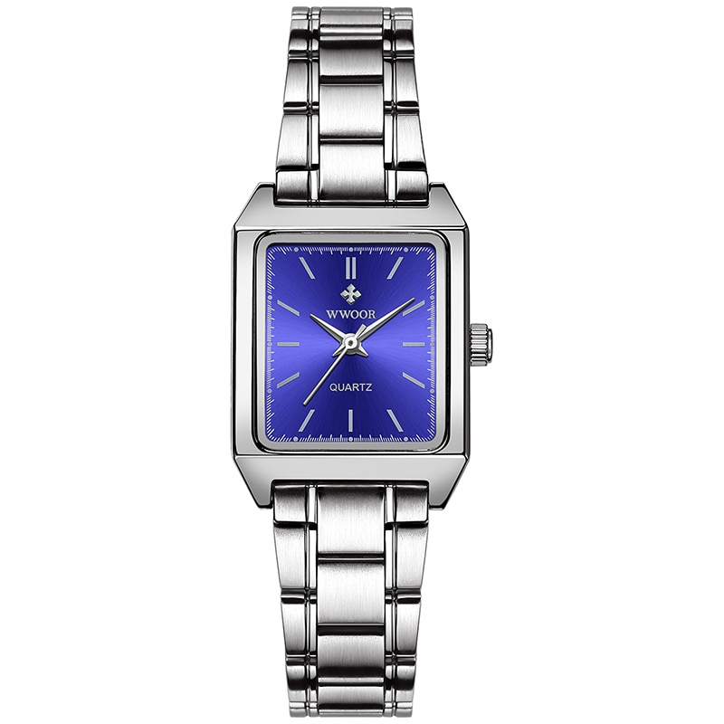 2021 WWOOR Brand Women Watch Square Quartz Small Wristwatch Rectangular Silver Blue Face Full Stainless Steel Ladies Wrist Watch enlarge