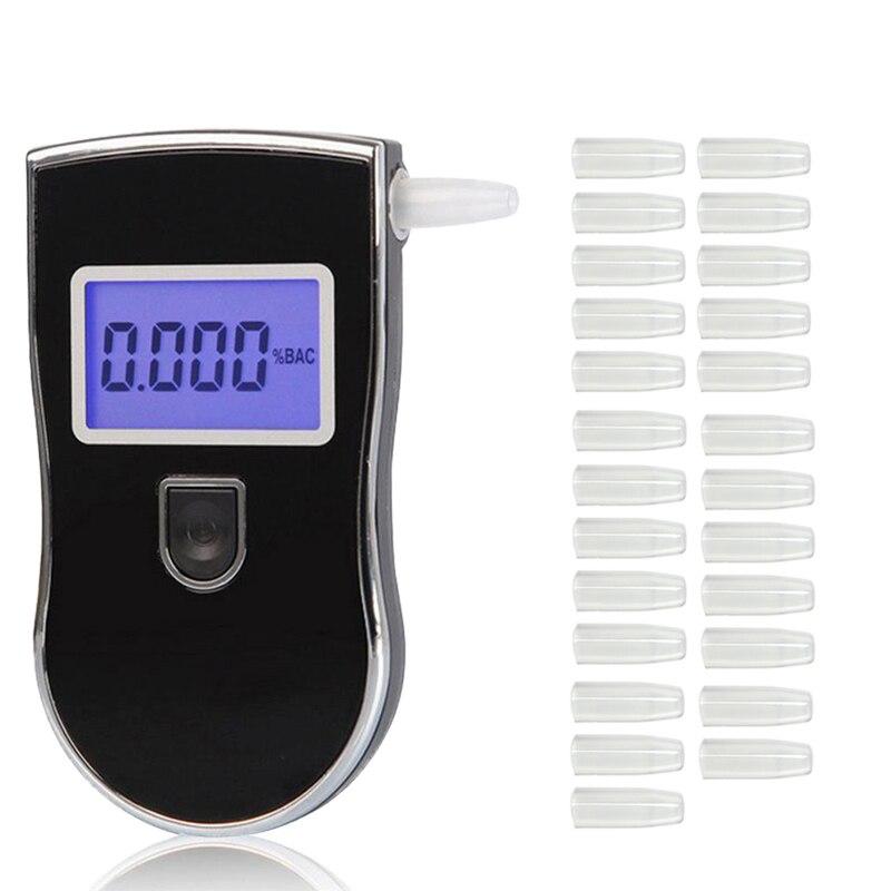 Probador de Alcohol profesional policía Digital LED alcoholímetro AT818 + 25 uds boquillas alcoholímetro dfdf