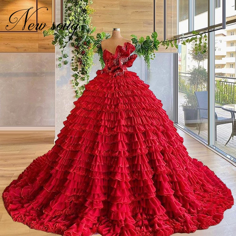 Gorgeous Red Tiered Tulle Prom Dresses Ball Gown Red Carpet Runaway Dresses 2020 Evening Wear Girls