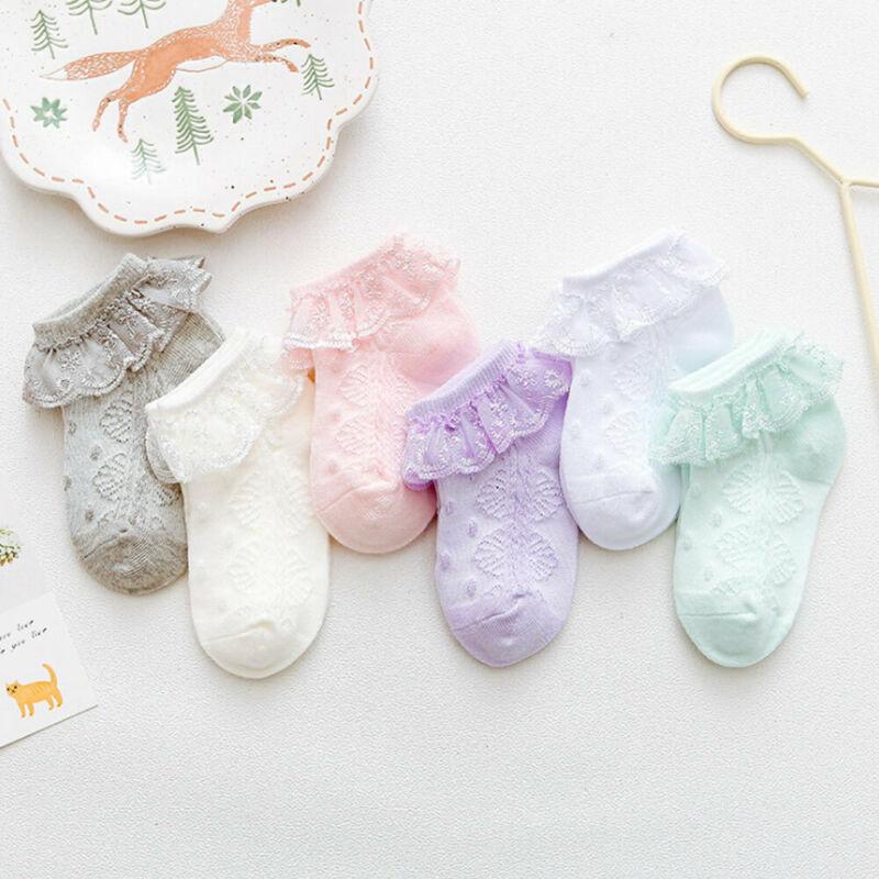 New Baby Girls Cotton Summer Kids Princess Ruffles Set Newborn Infant Toddlers Lace Boat Socks