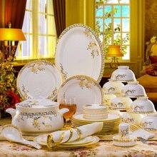 56PCS 세라믹 식기 세트 뼈 중국 식기 접시 접시 세라믹 조합 저녁 식사 서비스 세트 식당 세트 Porcelaine