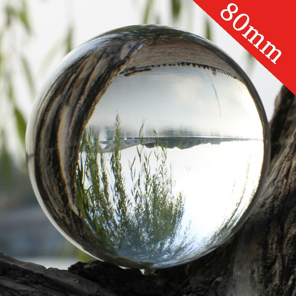 Bola de lente de cristal K9 súper transparente 80mm fotografía Lensball gran adivinación globo 8cm gran esfera mágica con bolsa Base de soporte
