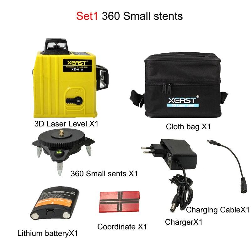 XEAST XE-61A nivel láser 3D de 12 líneas Nivel de autonivelación 360 degre Cruz Horizontal y Vertical potente al aire libre puede utilizar Detector