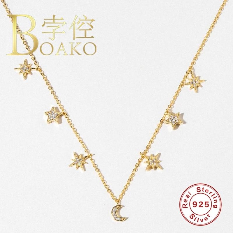 AliExpress - BOAKO 925 Sterling Silver Necklace Jewelry For Women 2021 Trend Stars Moon Cadena Plata Zircon Choker Necklace Collier