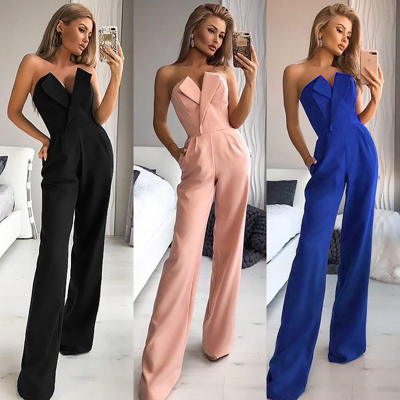 New fashion temperament womens solid color one shoulder V-neck slim strapless sleeveless jumpsuit women