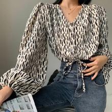 Blouse 2021 Spring Autumn New Korean Temperament Long Sleeved Chiffon Women Fashion Casual Printing