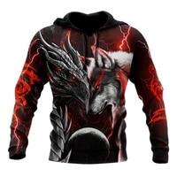 fashion autumn hoodie red dragon and wolf 3d printing mens zip hoodie unisex streetwear casual sweatshirt pullover noo007