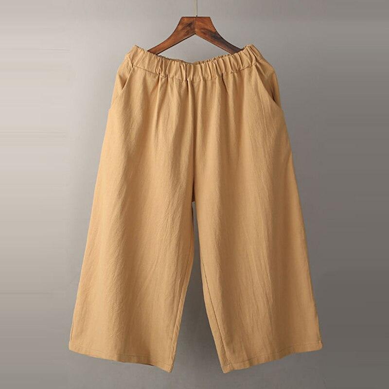 100% algodão bezerro-comprimento calças femininas verão solto casual perna larga calças novo 2020 vintage elástico de cintura alta mulher p760