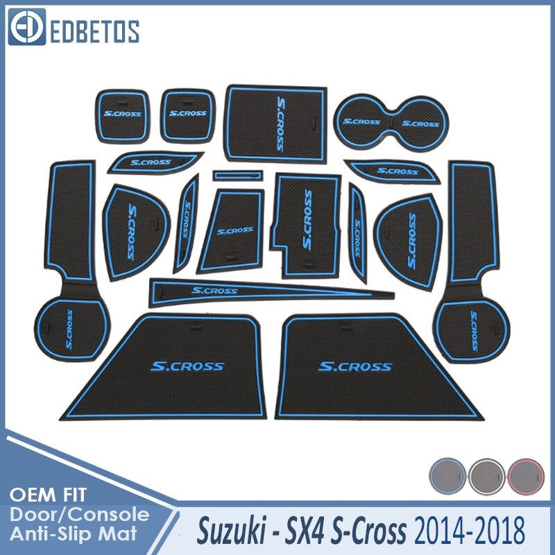 Door Groove Mat For Suzuki SX4 S-Cross 2014 2015 2016 2017 2018 Maruti SX-4 SX 4 S Cross SCross Accessories Anti-Slip Mat Gate