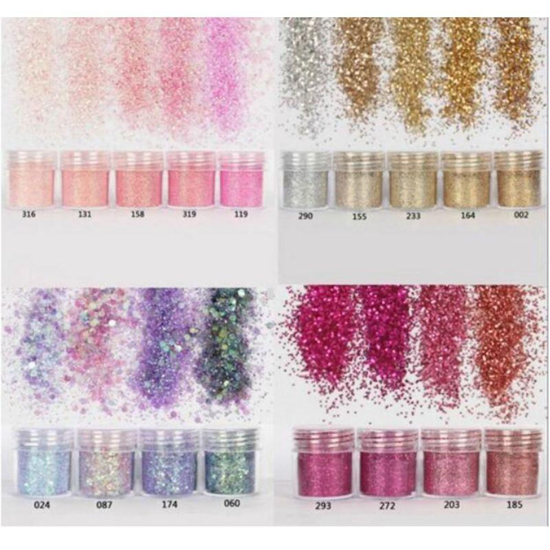 18 botellas de lentejuelas para decoración de uñas, resina epoxi con purpurina UV polvo brillante, polvo, manicura DIY, decoración de belleza para dedos