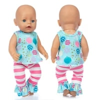2020 new born new baby fit 17 inch 43cm doll clothes doll lollipop pants suit clothes accessories for baby birthday gift