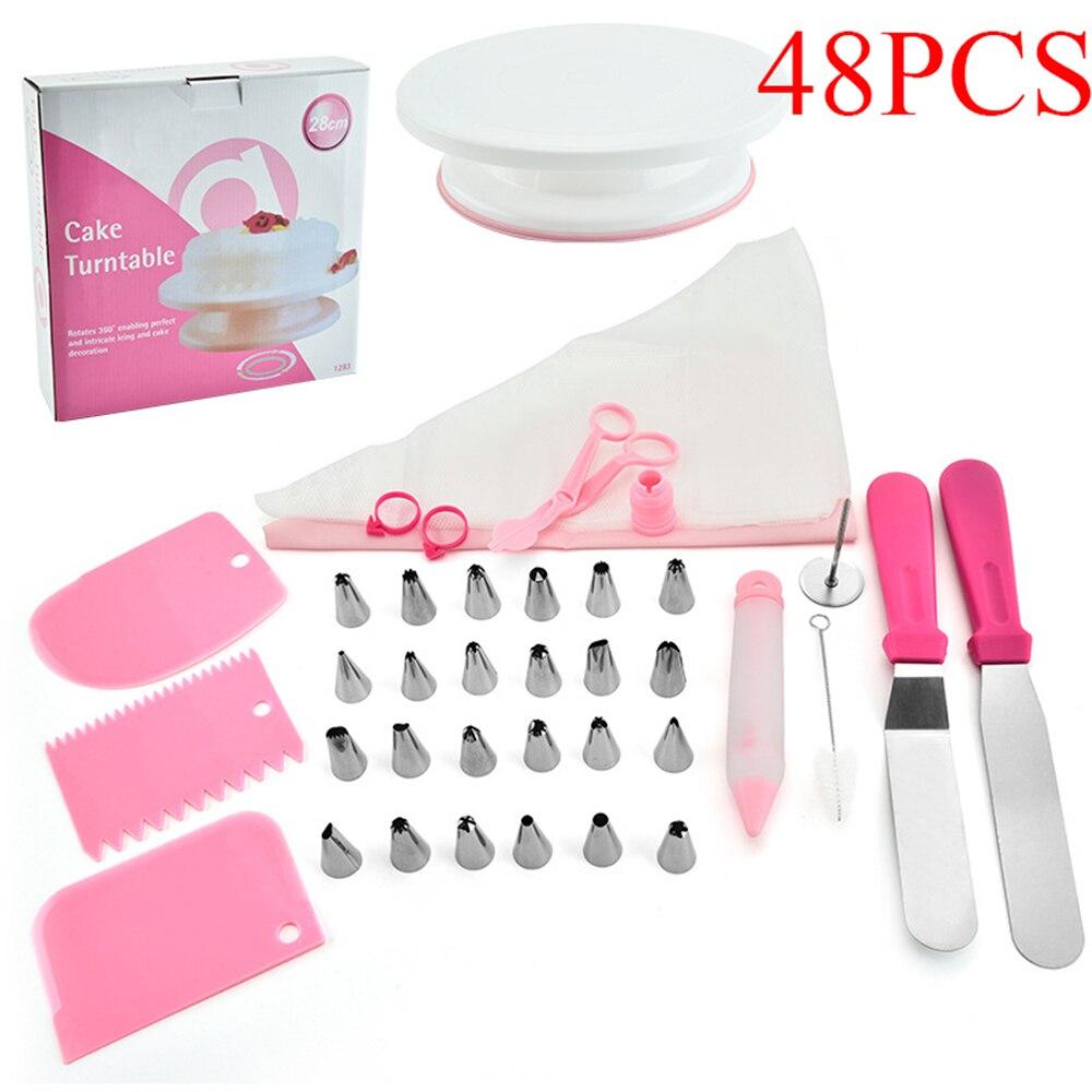DIY juego de tocadiscos de pastel rosa, herramienta de tubo de pastelería para Fondant, herramientas de postre horneado de cocina para fiesta, equipo para decorar tortas multifunción