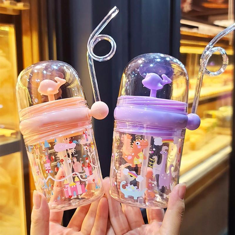 260 мл детские забавные китовые питьевые стаканы Мультяшные бутылочки для кормления с соломинкой портативные герметичные Детские стаканы п...