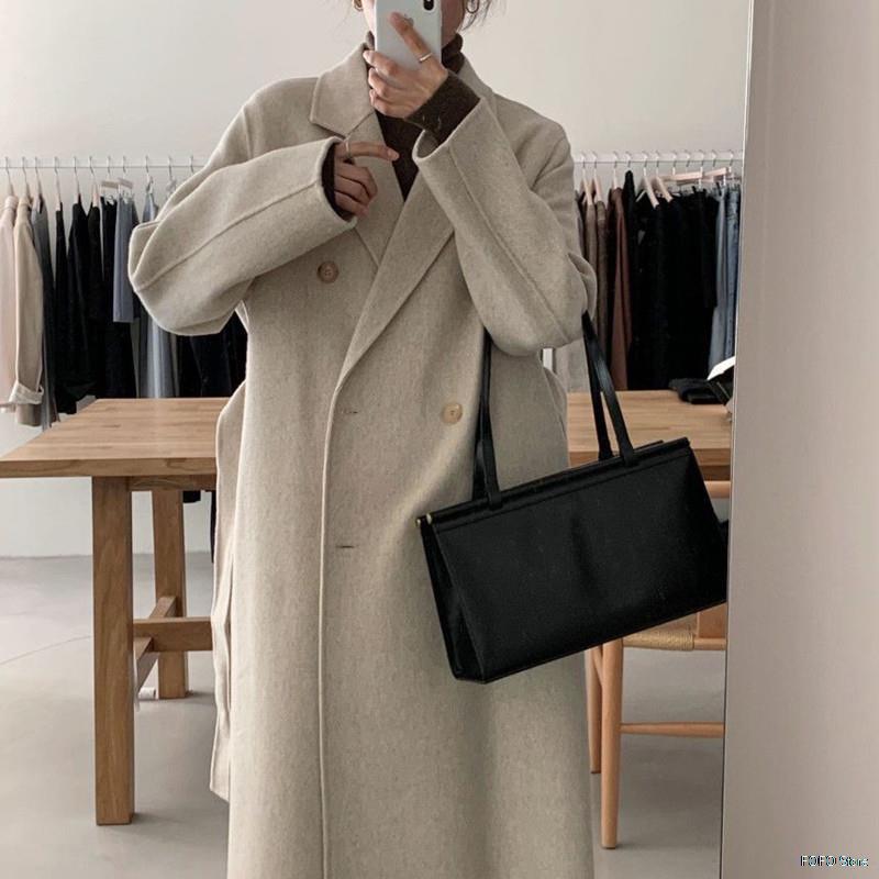 الكورية شيك الخريف والشتاء الصوف معطف امرأة مزدوجة الصدر عارضة فضفاضة طويلة الدافئة الصوف سترة امرأة المشمش الملابس الخريف