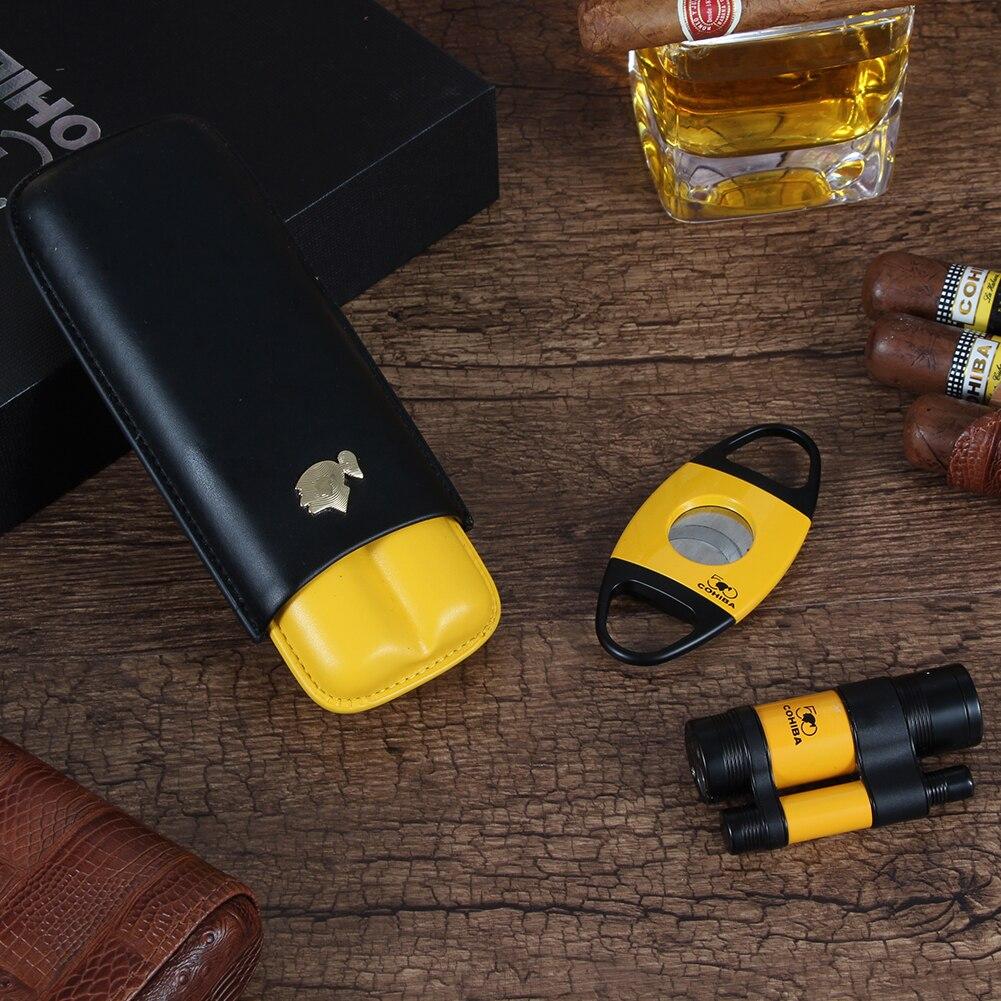 COHIBA 3-Piece Cigar Set Lighter Cutter Cigar Case Travel 3 Torch Cigar Lighter Metal Shap Puro Cutter Pocket Humiodor enlarge