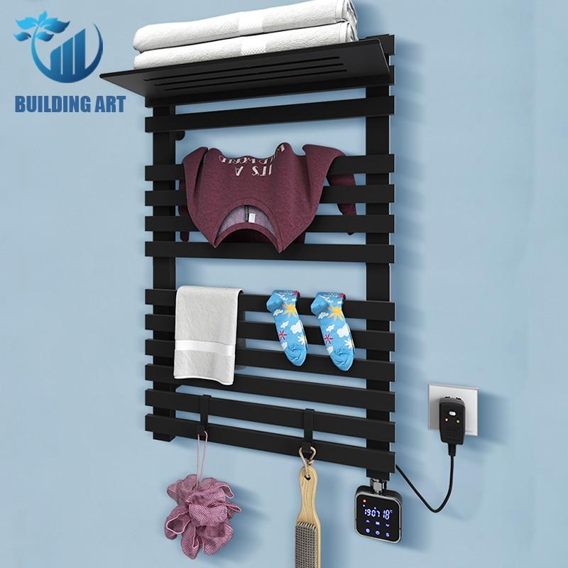 أسود أبيض ذكي الكهربائية منشفة رف التدفئة المنزلية منشفة استحمام تجفيف الرف منشفة استحمام كهربائية دعم واي فاي 220 فولت