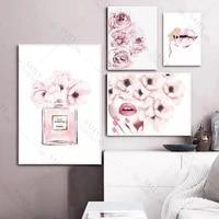 Affiche dart mural scandinave  fleur rose  parfum  cils  levres  maquillage  peinture sur toile imprimee  decoration de maison moderne
