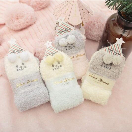Calcetín de niña bonitos modelos bonitos calcetines gruesos cálidos para mujer Lana Coral conejo tridimensional invierno dulce hogar dormir calcetín de regalo