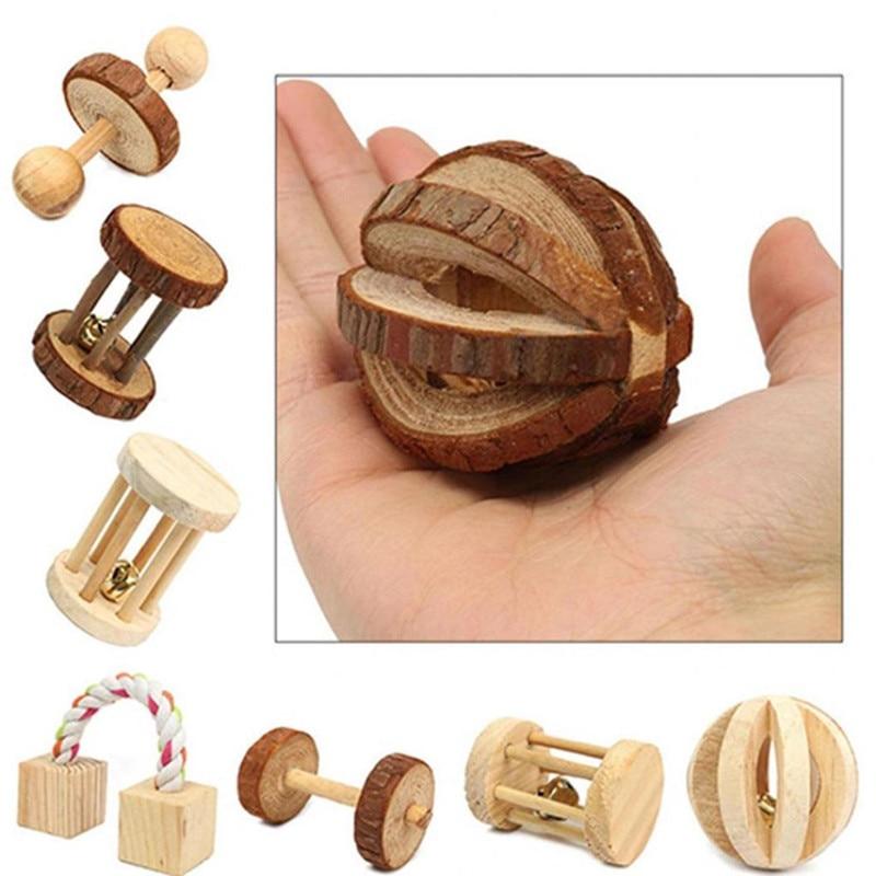 Śliczne naturalne drewniane zabawki sosnowe hantle rowerowy dzwonek rolkowy zabawki do żucia dla świnek morskich króliki i szczury, małe trzonowce dla zwierząt domowych
