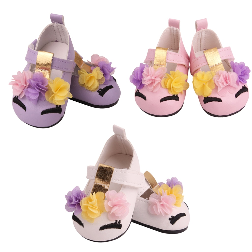 Fashion Doll Shoes, PU Ankle Strap PU Shoes, witH Flower, for 18 inch Doll Clothing Accessories, 3 C