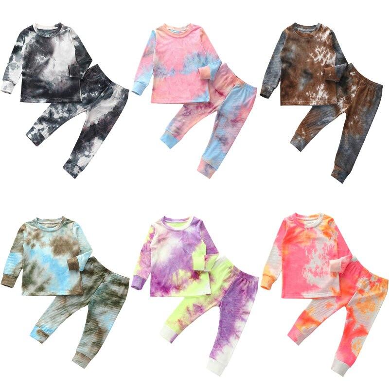 Conjunto de pijama de punto acanalado de manga larga de otoño para bebés y niños, Conjunto de camiseta + pantalones, pantalones, ropa para niñas, pijamas para dormir