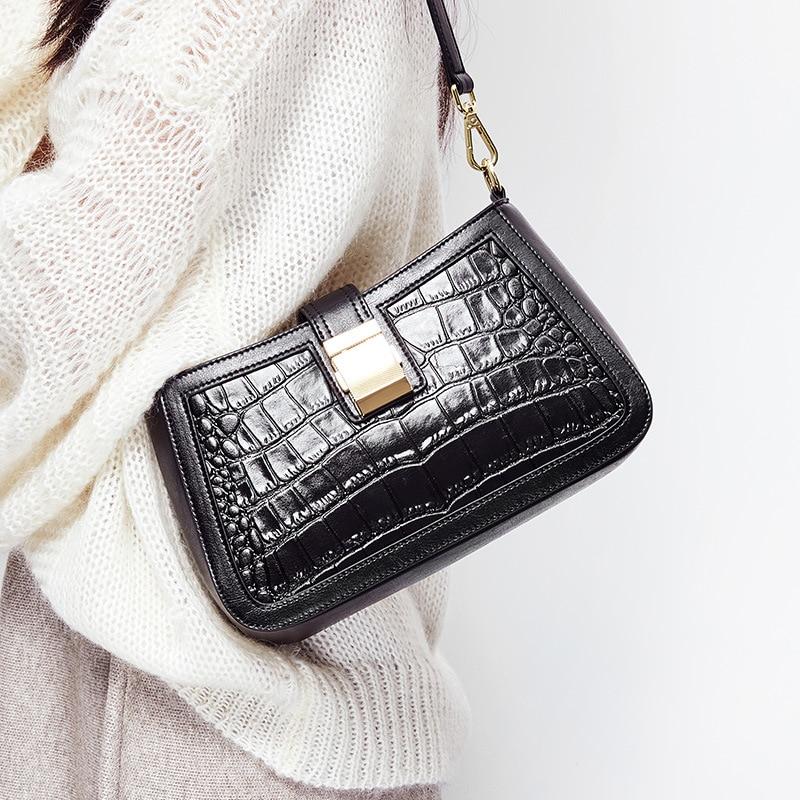 Genuine Purses and Handbags Bags For Women 2020Genuine Leather Female Underarm  Luxury Crocodile Pattern Shoulder Crossbody Bag