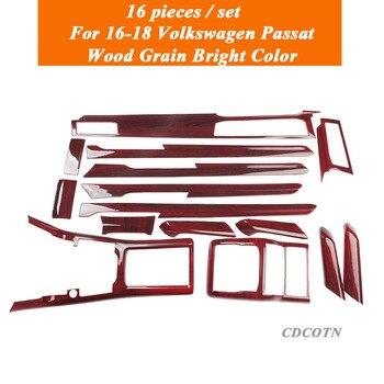 16Pcs Car Sticker Interior Wood Grain Color Cover Sticker Trim Panel Overlay Frame Kit Fit For 16-18 Passat Auto Car Accessories