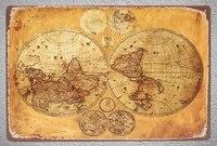 Plaque decorative en metal de la carte du monde  retro  decoration de grotte de personnes  couloir de cinema a domicile  Art deco  12 8 pouces