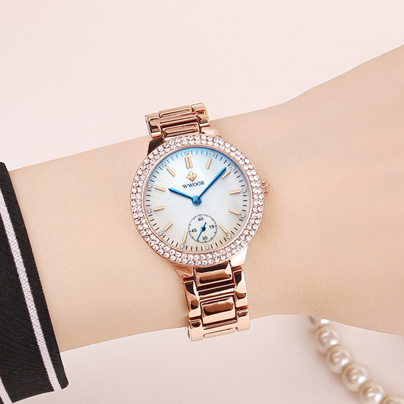 WWOOR Watch For Women 2021 Fashion Rose Gold Ladies Bracelet Watch Top Brand Luxury Crystal Quartz Watch Women Montre Femme Gift enlarge