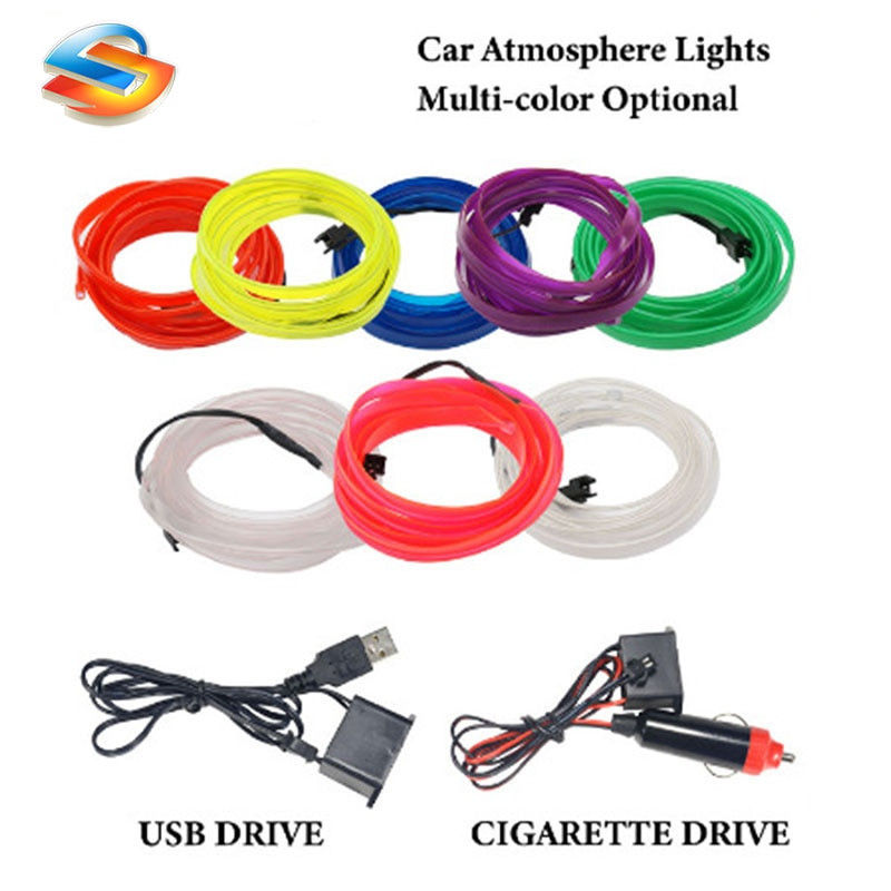 Hot Sale 1M/2M/3M/5M Car Interior Lighting LED Strip Decoration Garland Wire Rope Tube Line flexible Neon Light With USB Drive